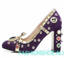 real photo Luxury crown purple high heel leather thick heel shoes women  diamonds beading chunky heel wedding shoes large size 42 99b7f500c4d6
