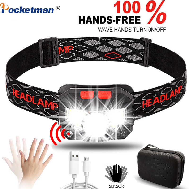 Powerfull 6000Lms LED faro recargable con Sensor de movimiento del cuerpo linterna de Camping linterna de cabeza lámpara con USB