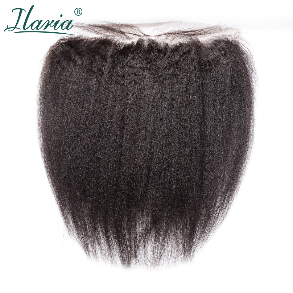 ILARIA HAIR Coarse Yaki  Brazilian Human Hair Lace Frontal Closure With Baby Hair 13x4 Ear To Ear PrePlucked Kinky Straight Hair