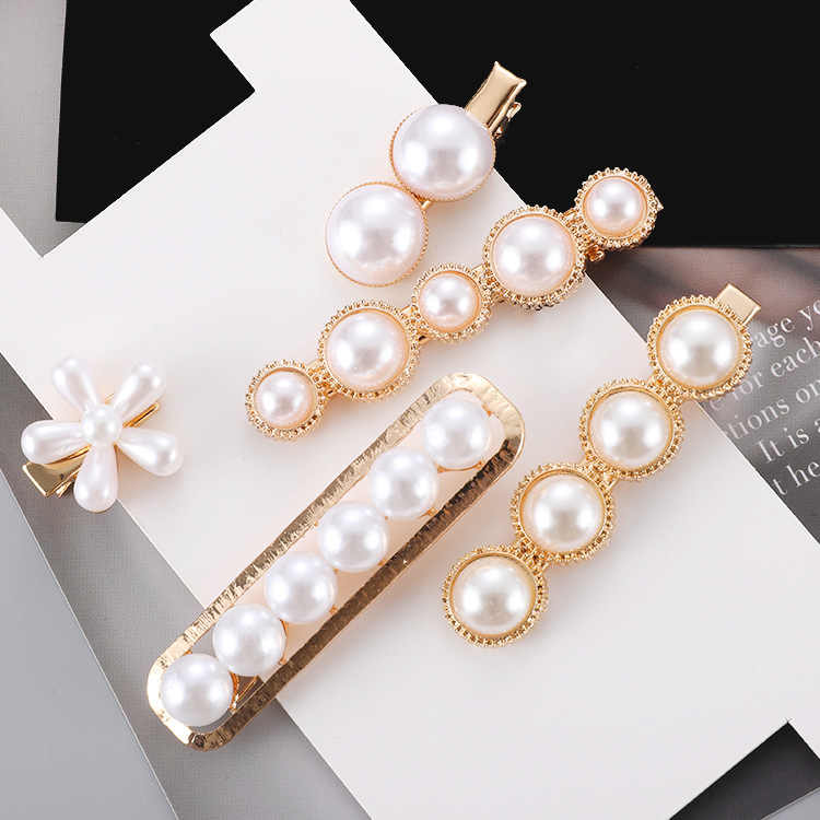 Mossovy Flower Pearl Hair Clip Trend Hair Pins Hair Jewelry for Women Female Duckbill Clip Barrette Pearl