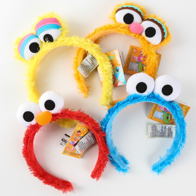 все цены на 1 pcs Creative Kawaii Sesame Street Elmo Big Bird Cookie STUFFED DOLL TOY Headband hair band for children toy gift supplies