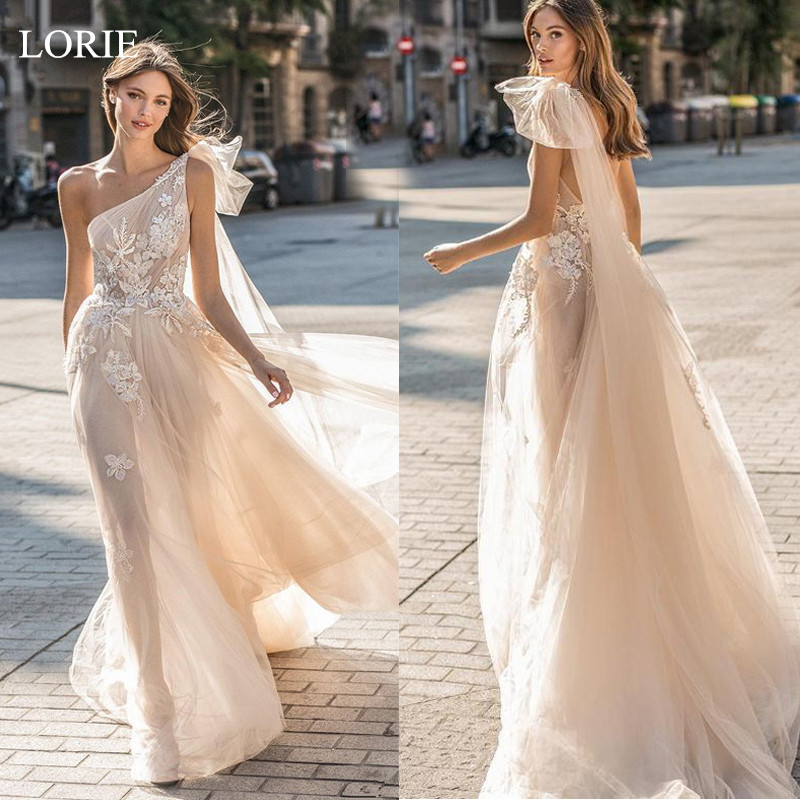 LORIE 2019 Beach Wedding Dresses A Line Sleeveless sexy Bridal Gowns Tulle Wedding Dress Vestidos De