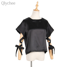 Qlychee Punk Gothic Summer Women T-shirt Bow Tie Lace Up Bandage Short Sleeve T Shirt Casual Female Tee Top