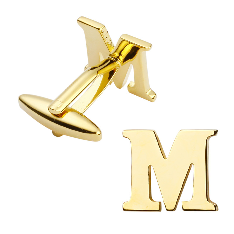 Mens jewelry high quality metal/gold fashion cufflinks, French shirt cuff links letters  ...