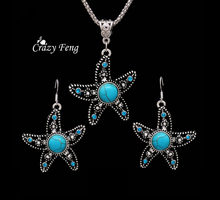 Jewelry Sets Charming Starfish tibetan silver Earring Necklace For Women with blue stone crystal jewelry wholesale Free shipping(China)