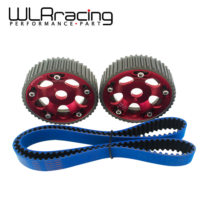 WLRING STORE- HNBR Racing Timing Belt BLUE + Aluminum Cam Gear Red FOR 2JZ-GE and 2JZ-GTE Supra, GS300, IS300 WLR-TB1006B+6531R pqy racing hnbr racing timing belt blue aluminum cam gear red for toyota 1jz 1jzgte 1jz gte pqy tb1005b 6531r