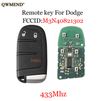 QWMEND Original key 2+1 Buttons Smart Remote Key 433mhz for Dodge Jeep With ID46/PCF7953 Chip For Dodge Jeep M3N40821302