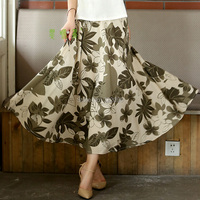 Free Shipping Blend Linen Long Skirt Spring Skirt Chinese Style Phoenix Tree Leaf Print Skirts Casual