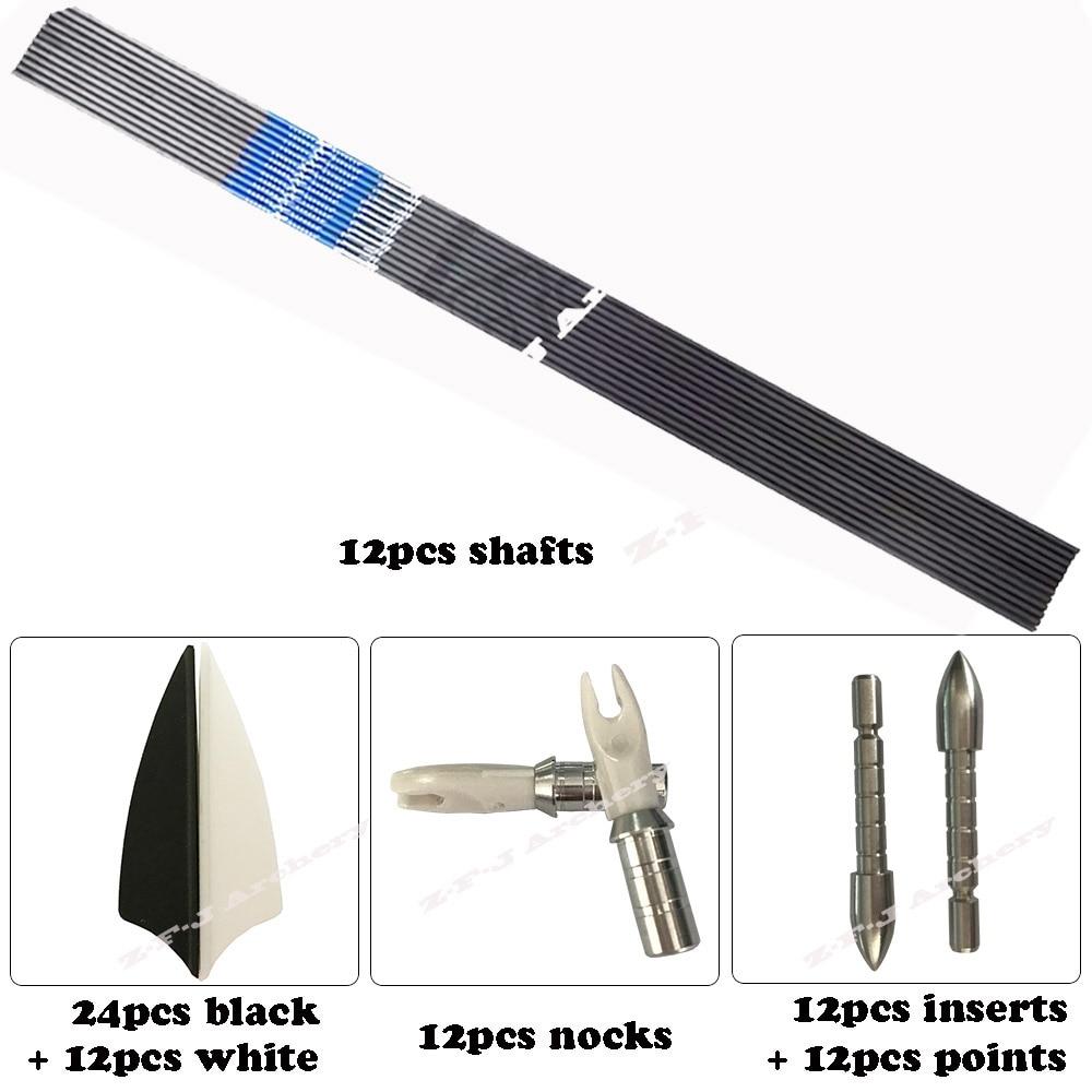 12pcs carbon arrow shaft spine600-800 ID4.2+12pcs target point+12pcs pin nock