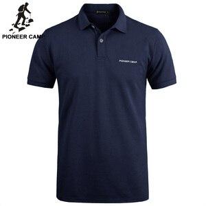 بايونير مخيم جديد الكلاسيكية قميص بولو الرجال العلامة التجارية-الملابس عارضة الصلبة الصيف Oculos الذكور جودة 100% القطن أسود أبيض داكن bue