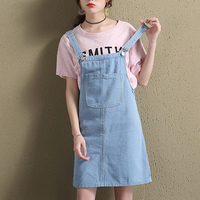 2017 Fashion Summer Womens Elegant Pocket Strap Denim Dress Casual Sleeveless Overalls Dresses Female Vestidos Femininos