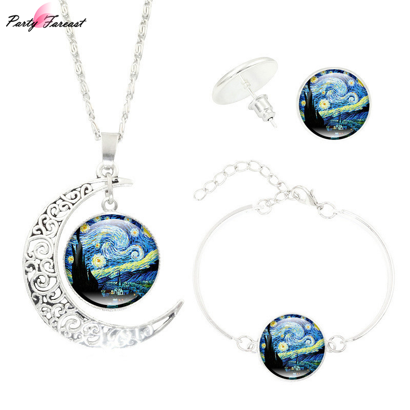 Partyfareast Van Gogh Star Time Gem Pendant Necklace Jewelry Sets Necklace Stud Earrings Bracelet For Women Jewellery Sets