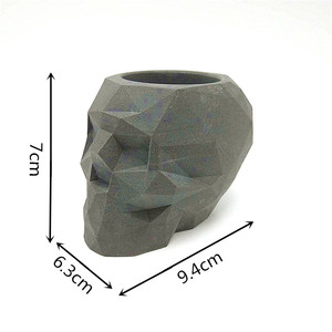 Image 5 - 3D skull เรขาคณิตดอกไม้หม้อแม่พิมพ์คอนกรีตแม่พิมพ์ซิลิโคน diy ผู้ถือปากกาซีเมนต์ปูนปลาสเตอร์แม่พิมพ์ตกแต่งเครื่องมือ