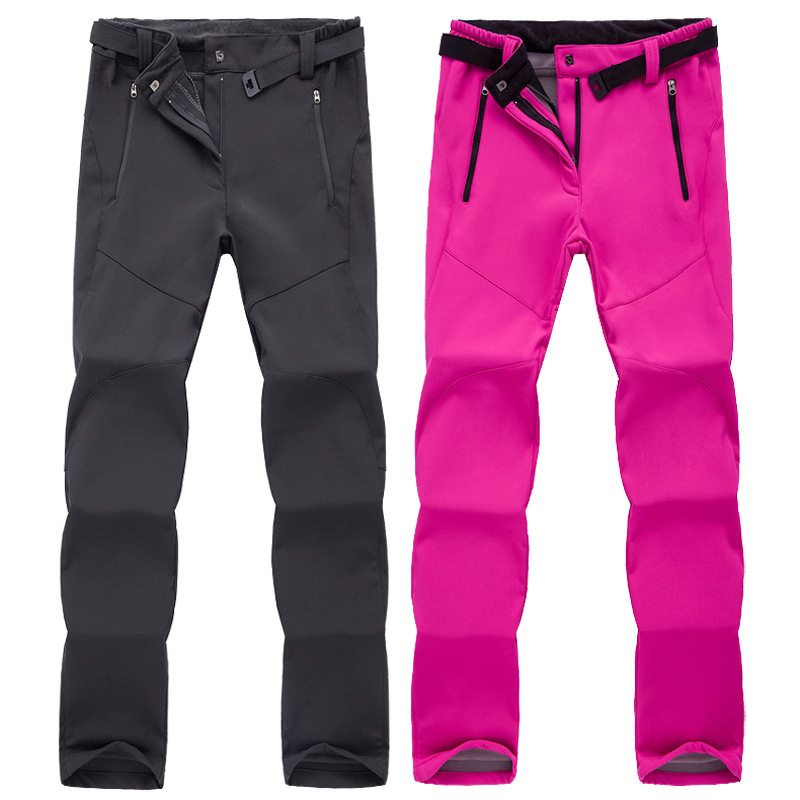 2019 Women Winter Outdoor Sports Waterproof Windproof Fleece Trousers Outdoor Soft shell Women Camping Skiing Trekking Pants