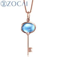 New Arrival ZOCAI 18K rose gold 1.8 CT Certified Topaz gemstone Key shape pendant 0.006 ct diamond 925 silver chian D03483