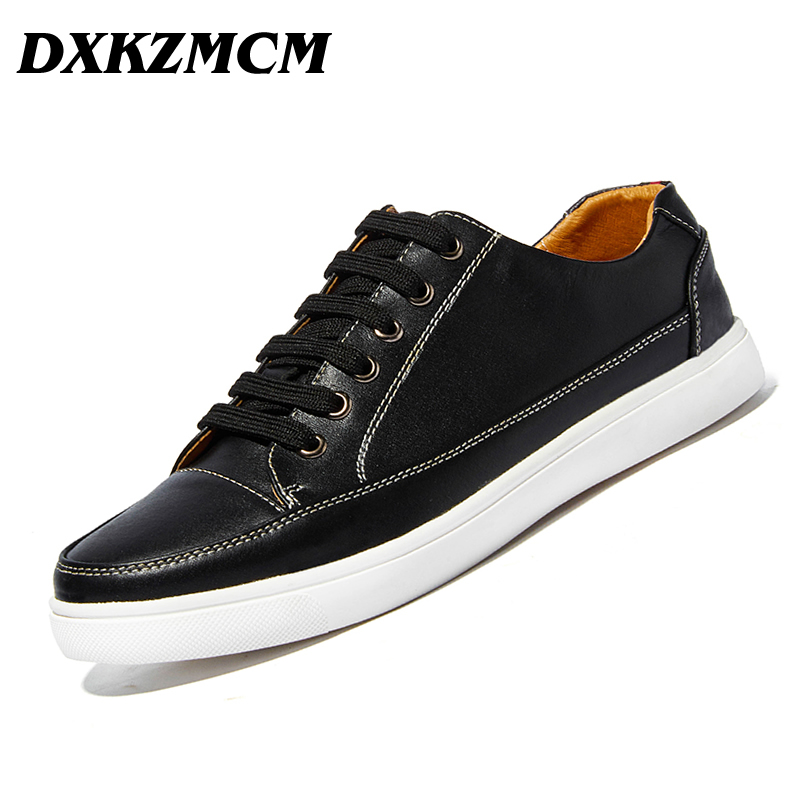 DXKZMCM High Quality Genuine Leather Men Casual Shoes Fashion Breathable Male Shoes Cow Leather Men Flats relikey brand men casual handmade shoes cow suede male oxfords spring high quality genuine leather flats classics dress shoes