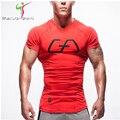 2016 Nueva Camiseta de los hombres Medias de Fitness de Secado rápido Estiramiento Ocasional Top Tee Shirt Gimnasio Mma Más Tamaño Venta Caliente