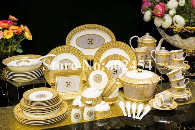 Luxurious Gold Rimmed Ceramics Dinnerware Set High End European Bowl Plates Dishes 58