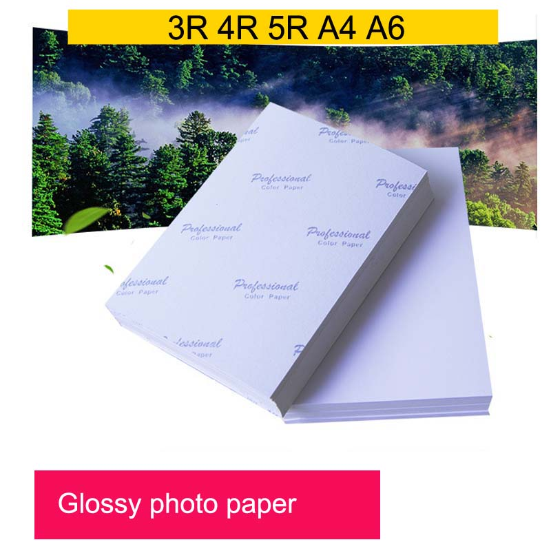 Photo Paper 3R 4R,5R,A4,A6 100 Sheets High Glossy Printer Photographic Paper Printing for Inkjet Printers Office Supplies image