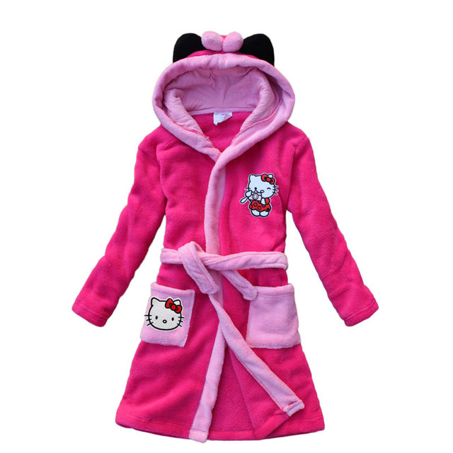 2016 new kitten pattern children bathrobe coral velvet robe robe hooded children lengthened cartoon girl
