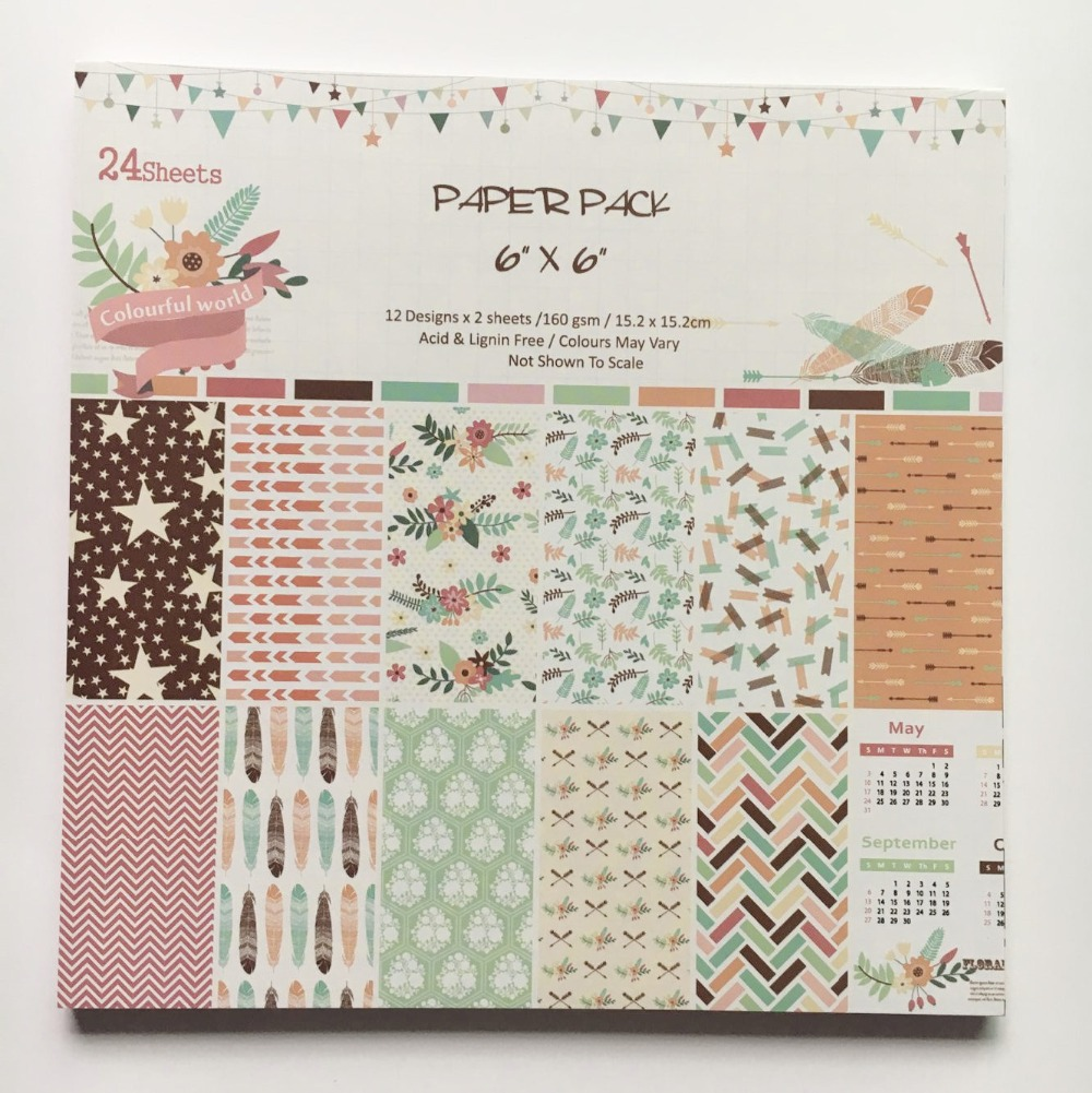 How to make scrapbook paper designs - New Style 6 Background Paper Pads Colorful World Patterns 24sheets Diy Scrapbooking Paper