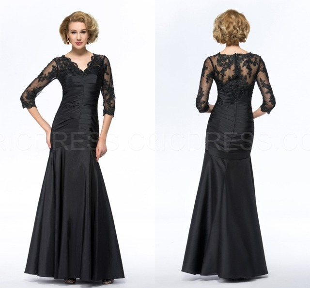 Fashion Black Half Sleeve Plus Size Mother Of The Bride Dresses Pant