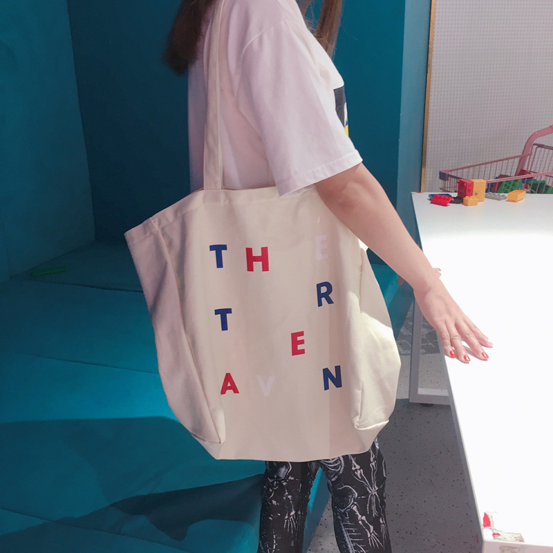 Simple canvas bag large capacity college shopping bag shoulder bag tote bag travel bag female
