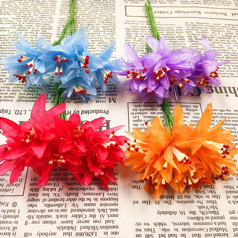 6 PCS (12.5 cm/beam) simulation artificial carnations silk flowers bouquet/wedding Christmas decorations DIY gift box collage