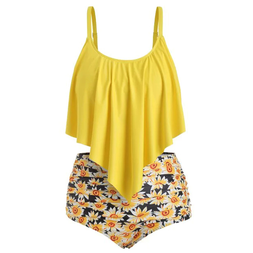 Bathing-Suits Sunflower-Printed Swimming Women Bottom-Bikini-Set Two-Pieces with High-Waisted