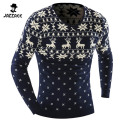 2016 O-Neck Sweaters Stylish Deer Animal Print Knitted Long Sleeve Sweater Men Sweater Male Sweaters Pullover-Size XXL DADW