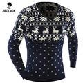 2016 O-pescoço Blusas Elegante Cervos Animal Print Blusas de Malha Camisola Longa Da Luva Dos Homens Camisola Masculino Pullover-Tamanho XXL DADW