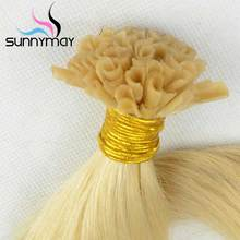 Nail Stick Nail Tip Brazilian Virgin Human Hair Extensions 100s/pack Blonde Color #613 Bleach U Shap Stick Tip Hair Extension