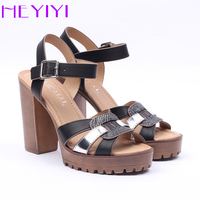 HEYIYI Sexy High Heels Ankle Strap Casual Comfortable Soft Leather Summer Round Toe Woman Pump Sandals