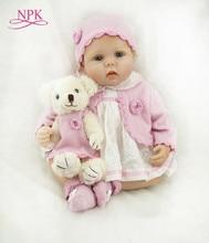 Npk 55cm bebê recém-nascido de silicone macio, boneca bebê, bonecas de 22 polegadas realista, boneca bebê real para crianças, aniversário presente de natal