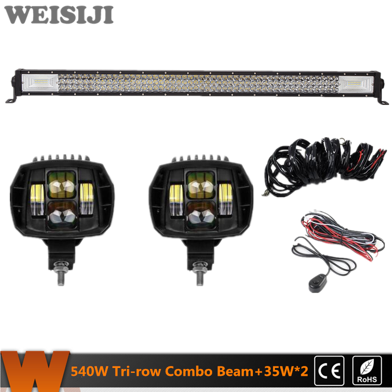 WEISIJI Hot Selling Tri-row 540W LED Light Bar+2Pcs 35W Low Beam LED Work Lights+2Pcs Wiring Kits Set for Jeep Truck SUV ATV UTV скраб artdeco deep exfoliating foot scrub deep relaxation