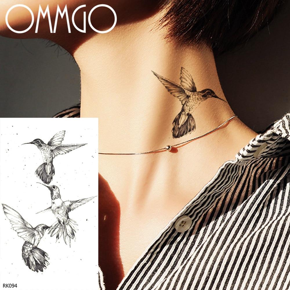 Женские временная татуировка OMMGO Hummingbird, черная Водонепроницаемая наклейка на запястье с имитацией татуировки, на заказ
