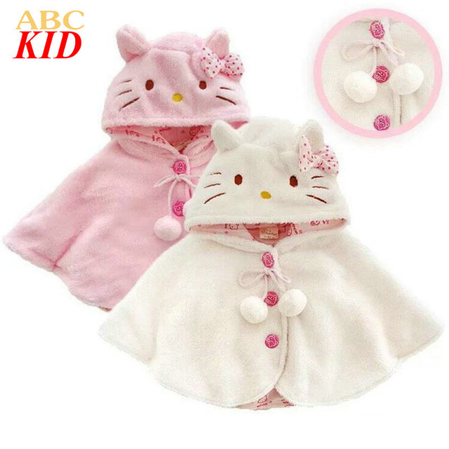 Cartoon hello kitti hooded coats for kids winter Coral fleece outfits baby girl cloak coat Kids cape manteau fille KD200