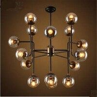 Vintage Loft Modo szkła żelaza Led E27 wisiorek światło dla jadalnia restauracja Bar Decor lampy 8/9/ 16 głowice AC 80 265 V 1565 w Wiszące lampki od Lampy i oświetlenie na