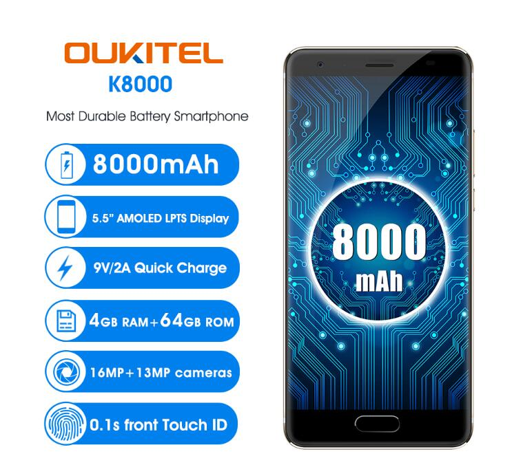 "Free Case OUKITEL K8000 5.5 ""HD AMOELD MTK6750T Octa Core 4 GB + 64 GB Mobile Phone"