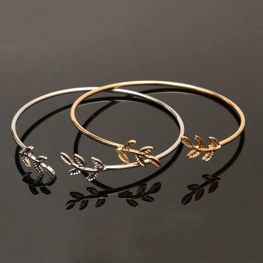 11.11 Hot New Fashion Open the Leaf Chain & Link Bracelets Women Jewelry Double Gold Silver Bilezik Opening Gift Mujer Pulseras