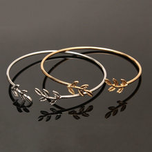 11.11 Hot New Fashion Open the Leaf Chain & Link Bracelets Women Jewelry Double Gold Silver Bilezik Opening Gift Mujer Pulseras(China)