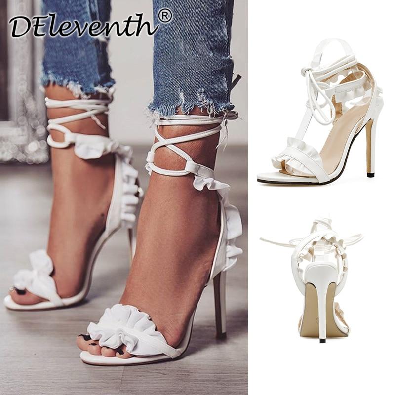 DEleventh/пикантные с поперечным Ремешком на шнуровке оборками стилет босоножки на высоком каблуке открытый носок женские туфли под вечернее платье Sandalias белый EU43