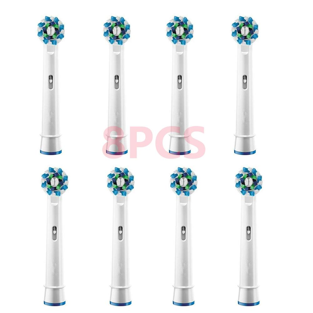 8PCS Electric toothbrush heads Compatible for Braun Oral b Replacement Brush Heads for Oral-B Tooth Brush Vitality Dual Clean 8pcs electric toothbrush for oral b heads sb17a replacement soft bristles for oral b vitality precision clean triumph toothbrush