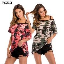 c8b030b41 PGSD Simples Das Mulheres Da Forma Roupas de Camuflagem Ombro-exposto  médio-comprimento-manga curta T-shirt frouxo grande-tamanh.