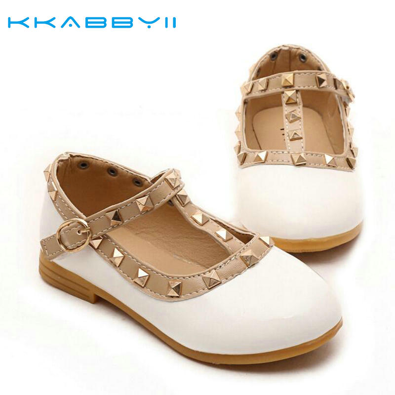 KKABBYII Spring Summer PU Leather Princess Shoes Female Child Sandals Cutout Child Single Shoes Breathable Rivet shoes