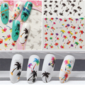 1 Pcs DIY Nails Art Sticker Colorful Summer Oceans Coconut Trees Element Nail Wrap Sticker Tips Water Transfer Nail Decals