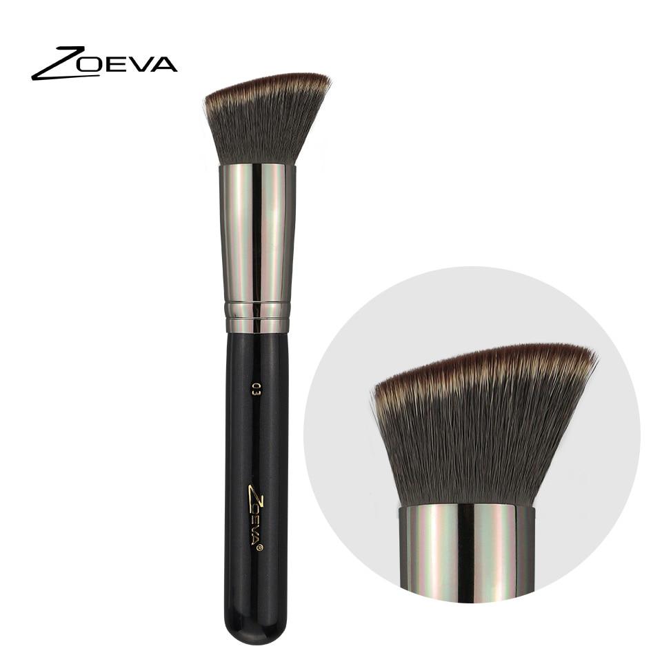 Zoeva Luxe Single Blush Makeup Brush Angled Kabuki For Blusher Dark Brown 8 Piece Bursh Set Bag Cheek Contour Bronzer Make Up