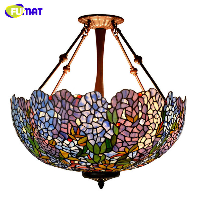 FUMAT Stained Glass Pendant Light European Style Blue Wistera Suspension Lamp For Living Room Project Glass Art Pendant Lights fumat stained glass pendant lights garden art lamp dinner room restaurant suspension lamp orchids rose grape glass lamp lighting