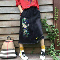Women S Denim Skirt Long Fashion Cute Embroidery Floral New Arrival One Size Casual Sweet Skirt