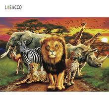 Laeacco Jungle Safari Lion King Elephant Animals Baby Learning Party Poster Photo Backdrops Photographic Background Studio